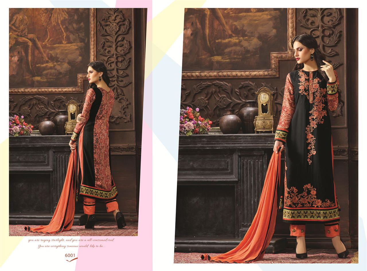 a027f27de4704 Fresh Look By Rose Fashion 6001 To 6006 Series Indian Ethnic Beautiful  Colourful Stylish Digital Printed And Embroidered Party Wear Georgette  Dresses At ...