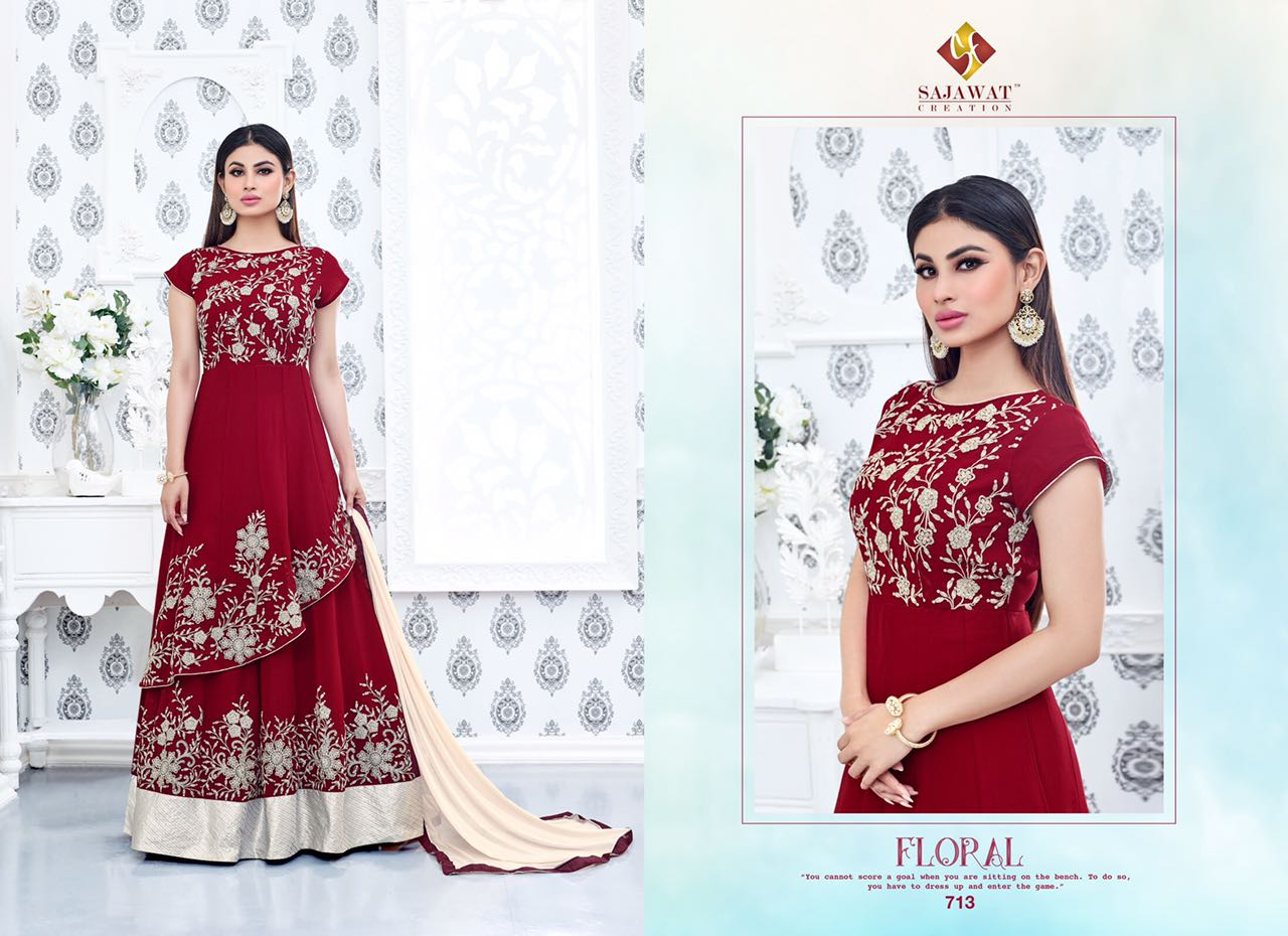 14aaac808c Roles Vol-6 By Sajawat Creation 711 To 717 Series Bollywood Beautiful  Stylish Designer Embroidered Party Wear Georgette Dresses At Wholesale  Price - Fashid ...