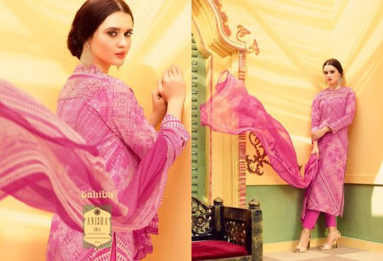 2e3f6ae540 Anisha By Sahiba Fabrics 101 To 112 Series Bollywood Beautiful Stylish  Designer Digital Printed Embroidered Party Wear Cotton Dresses At Wholesale  Price