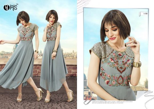 9c8707f9ca DYNA BY IRIS 55 TO 64 SERIES DESIGNER COLORFUL BEAUTIFUL STYLISH FANCY  PARTY WEAR & ETHNIC WEAR GEORGETTE KURTIS AT WHOLESALE PRICE