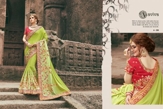 Monalisa By Aviva 201 A To 215 Series Indian Designer Beautiful Colorful Wedding Collection Party Wear Occasional Fancy Sarees At Whole Price