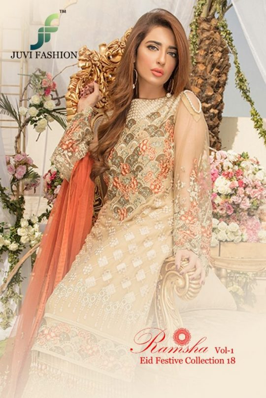 63c0464d0a RAMSHA VOL-1 BY JUVI FASHION 7001 TO 7006 SERIES DESIGNER PAKISTANI SUITS  BEAUTIFUL STYLISH FANCY COLORFUL PARTY WEAR & OCCASIONAL WEAR FAUX  GEORGETTE ...