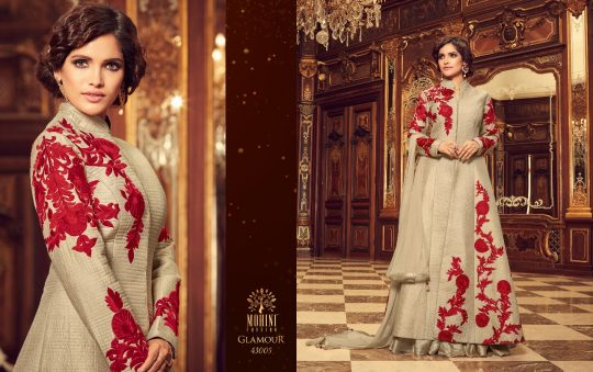 8140329da1 GLAMOUR 43005 DESIGN BY MOHINI FASHION DESIGNER WEDDING COLLECTION  BEAUTIFUL STYLISH FANCY COLORFUL PARTY WEAR & OCCASIONAL WEAR TAFETA SILK  EMBROIDERED ...