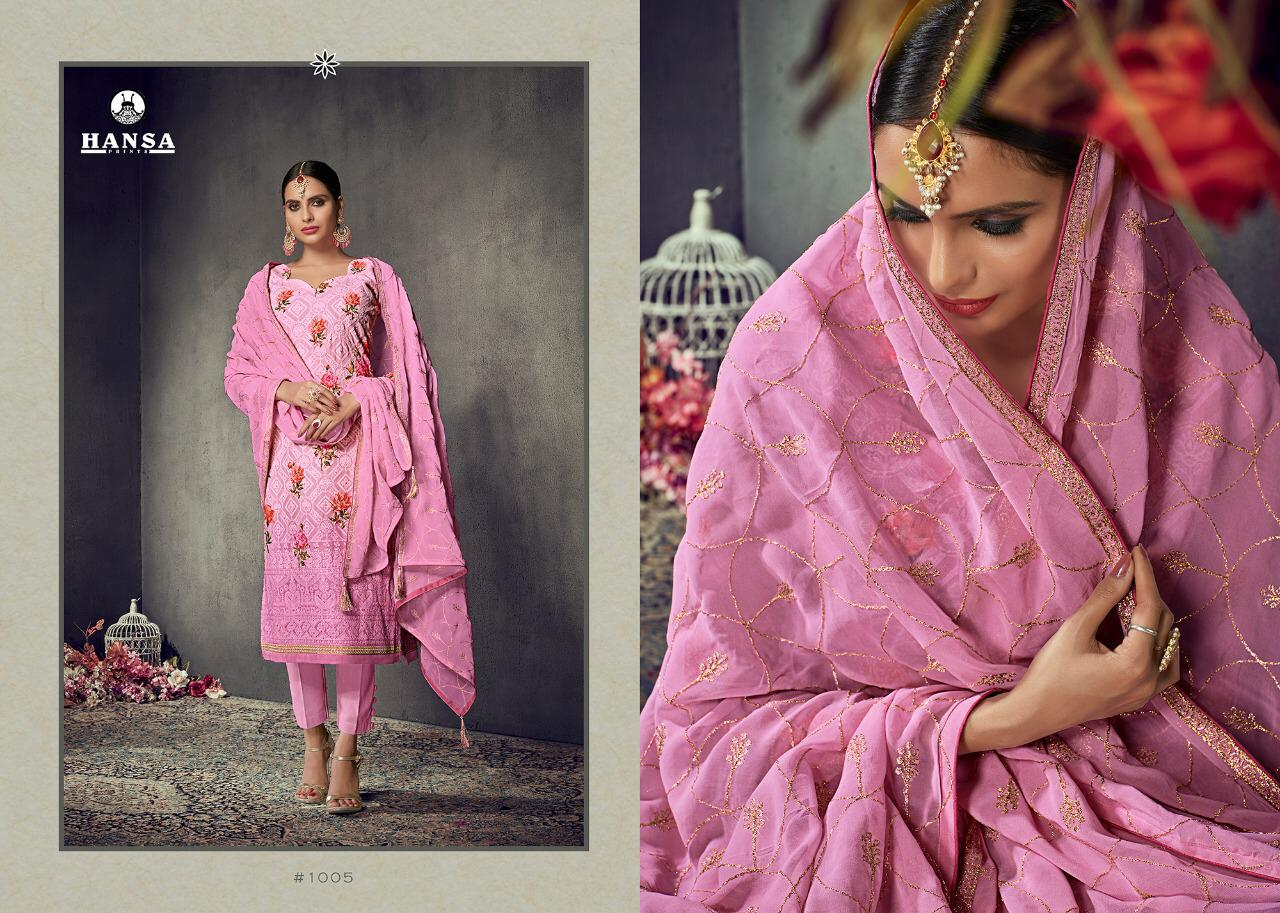 49c441eaf1 HUSNA LAKHNAVI BY HANSA PRINTS 1001 TO 1006 SERIES BEAUTIFUL SUITS ...