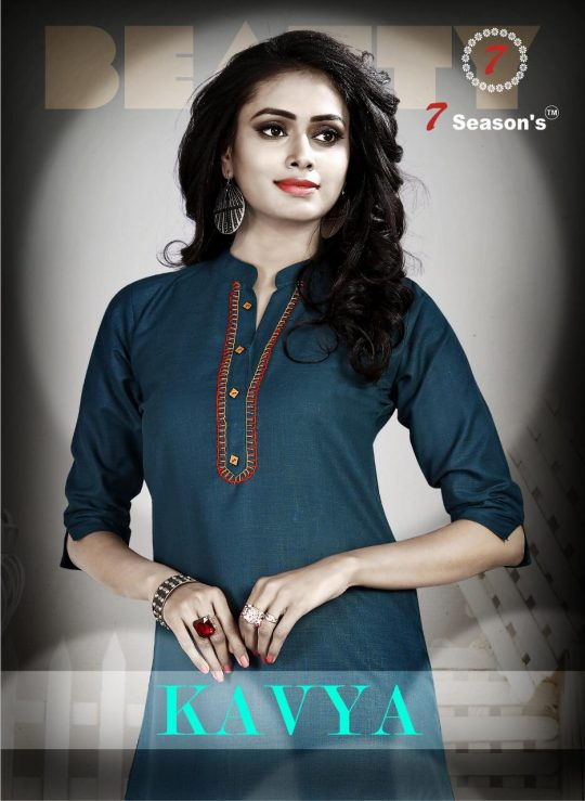 990a68b617 KAVYA BY 7 SEASON'S 1001 TO 1009 SERIES BEAUTIFUL COLORFUL STYLISH FANCY  CASUAL WEAR & ETHNIC WEAR & READY TO WEAR RUBBY COTTON KURTIS AT WHOLESALE  PRICE