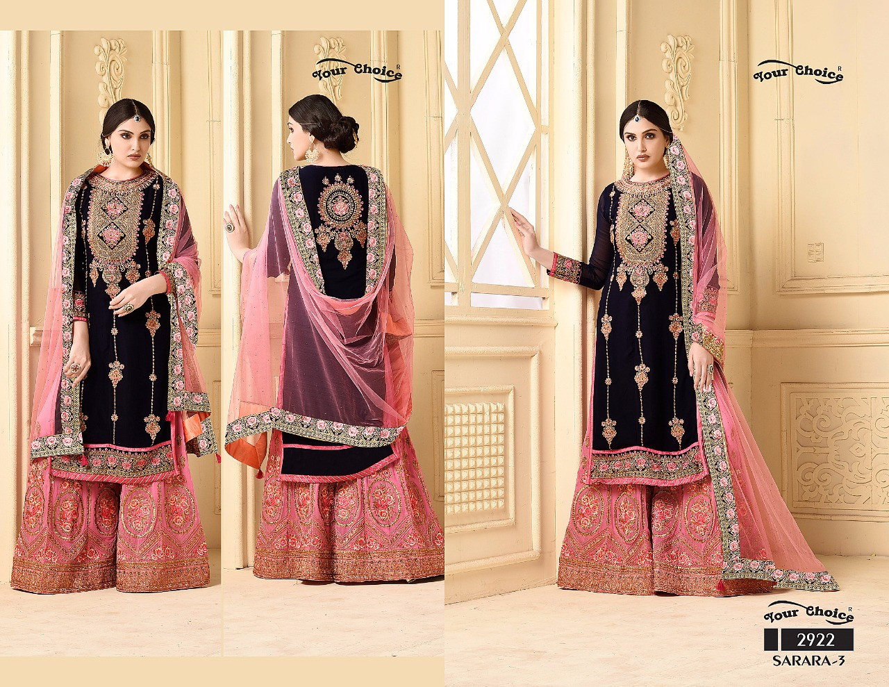 a7ba03ed76 SARARA VOL-3 BY YOUR CHOICE 2922 TO 2925 SERIES BEAUTIFUL DESIGNER SUITS  COLORFUL STYLISH FANCY PARTY WEAR & ETHNIC WEAR FAUX GEORGETTE DRESSES AT  WHOLESALE ...