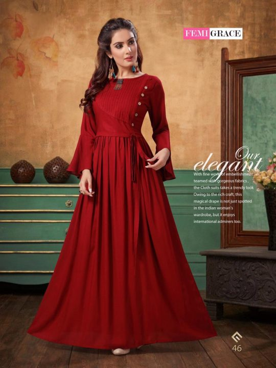 831ead953a FEMIGRACE VOL-8 BY FEMIGRACE 45 TO 50 SERIES BEAUTIFUL COLORFUL STYLISH  FANCY CASUAL WEAR & ETHNIC WEAR & READY TO WEAR COTTON PRINTED GOWNS AT  WHOLESALE ...