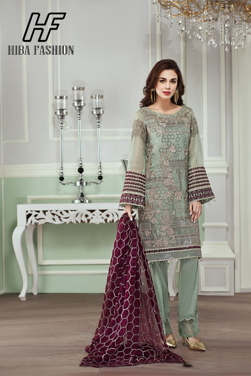 Zahra By Hiba Fashion Beautiful Pakistani Suits Stylish Fancy Colorful Party Wear Occasional Wear Georgette Embroidered Dresses At Wholesale Price